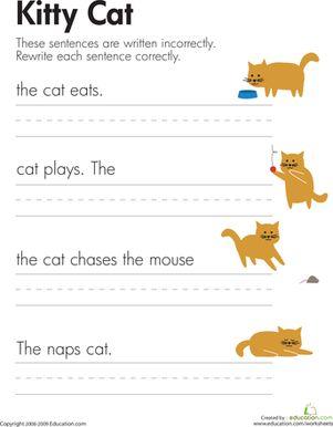 fix the sentences kitty cat writing writing sentences worksheets grammar worksheets. Black Bedroom Furniture Sets. Home Design Ideas