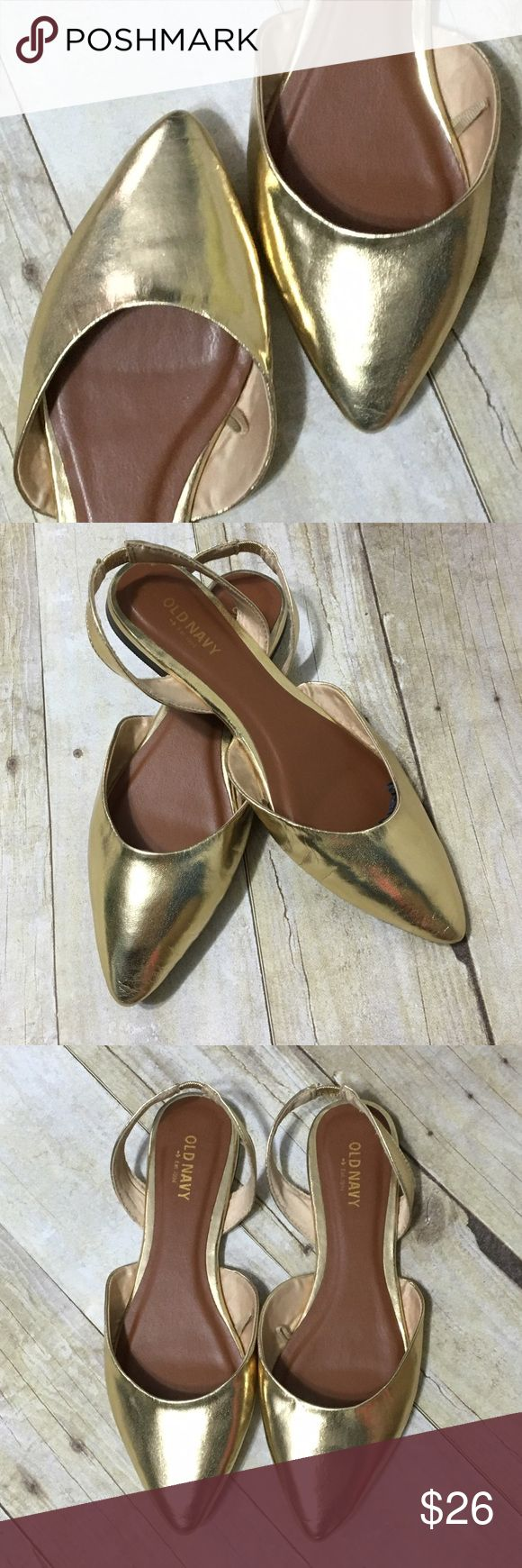 NEW!! Old Navy faux leather golden slingback flats NEW!! Old Navy faux leather golden slingback flats, sz. 6. Old Navy Shoes Flats & Loafers