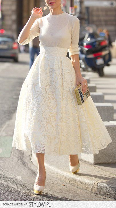 White lace skirt with simple white jumper