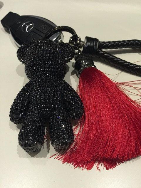 Cute Keychain Black Bear Bag CharmS Key chainS by ATSlowTimes