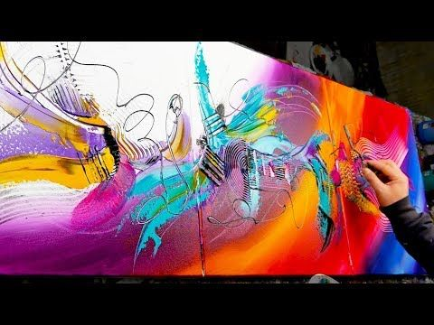 Demonstration of abstract painting. Knife, Brush – Love Buzz- John Beckley – YouTube