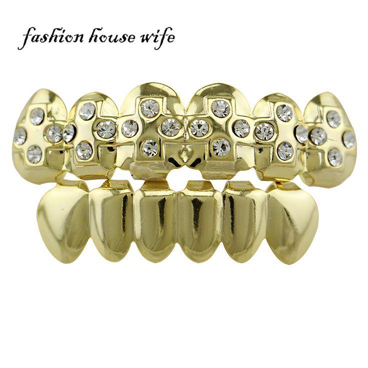 Fashion House Wife Gold Grillz Top & Bottom Teeth Set Bling Cross Rhinestone Teeth Grillz Cap Halloween Fashion Jewelry NL0063 #Affiliate
