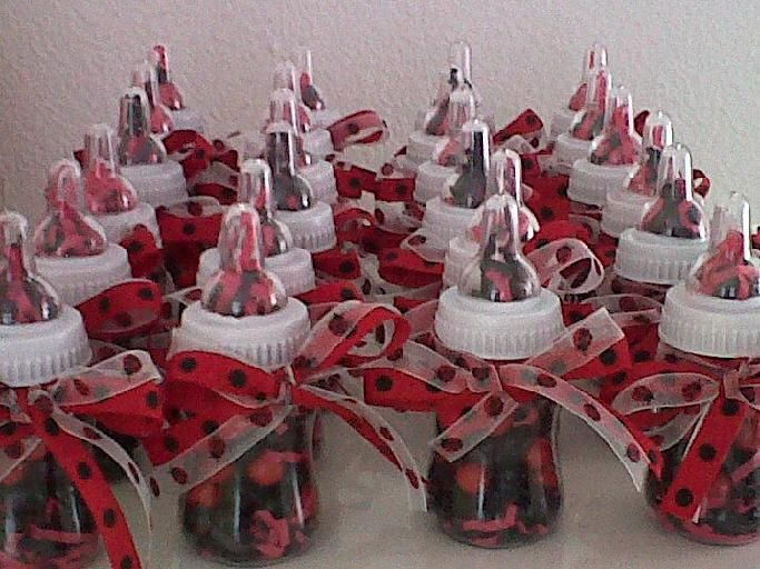 Ladybug Candy Favors | bee a lady lady bug baby shower bottle favors