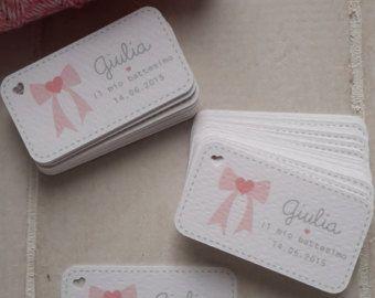 20 bigliettini per bomboniere nascita, battesimo, comunione e cresima, colore: toni rosa