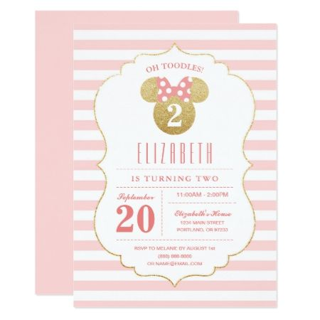 Minnie Mouse | Gold & Pink Striped Birthday Card - tap, personalize, buy right now!