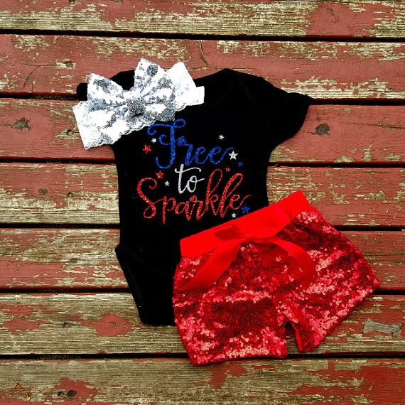 Free To Sparkle Bodysuit, Baby Girl, Girls, Newborn, New Baby, 4th of July, Sparkle, Fireworks, Glitter, Sequin, America, Murica, Patriotic