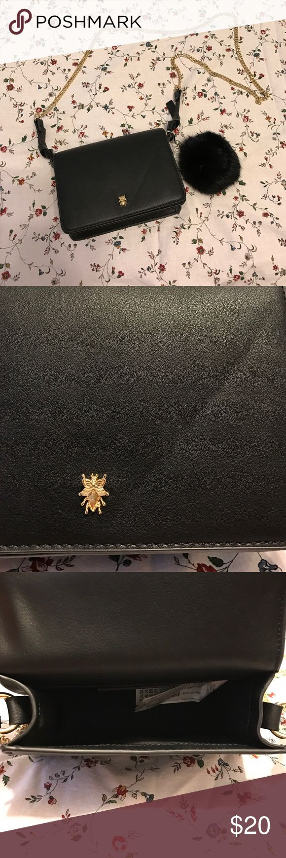 Black Zara purse. Black purse, inside is totally open so it's super easy to find whatever your looking for inside. Little bug detail on front (pictures) gold chain is approximately 39 inches long. L 7in H 5.5in W 2.5in. Perfect for carrying all of life's necessities. Only worn once, pom not included. Zara Bags Crossbody Bags