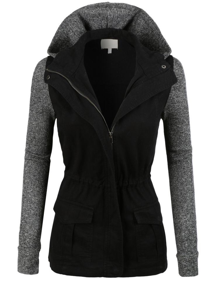 LE3NO Womens Lightweight Military Anorak Jacket with Detachable Hoodie | LE3NO