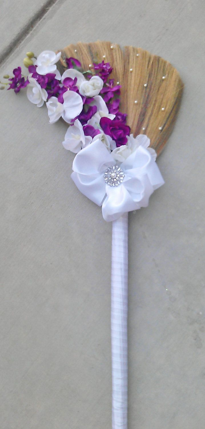HANDFASTING BROOM: Jumping Broom-Big Bow Broom-Custom Made in your Color Choices. $63.00, via Etsy.