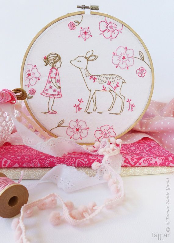 Welcome to my shop. Bambi Girl Embroidery design can be appliqued to a pillow cover or a bag. It can also make an excellent wall decoration,