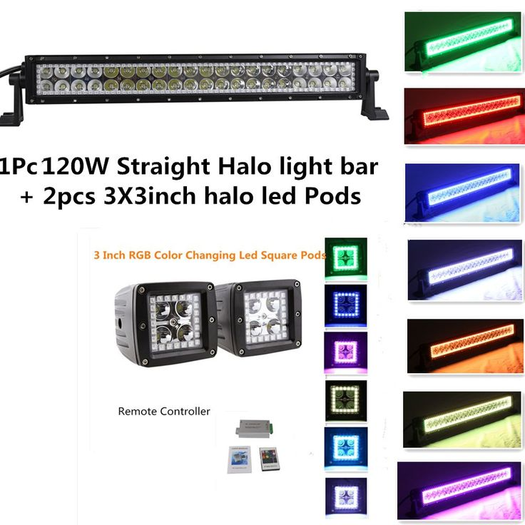 USD139 ON Sell! Night Break Light Straight 22 Inch 120w LED Light Bar Color Morph over 12 Colors by Remote Controller Free to Get 2pcs 3x3 Inch Halo led Pods for Offroad 4x4 Truck Jeep 4WD RZR ATV SUV UTV