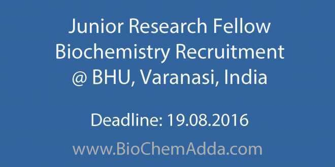 Junior Research Fellow Biochemistry Recruitment @ BHU, Varanasi