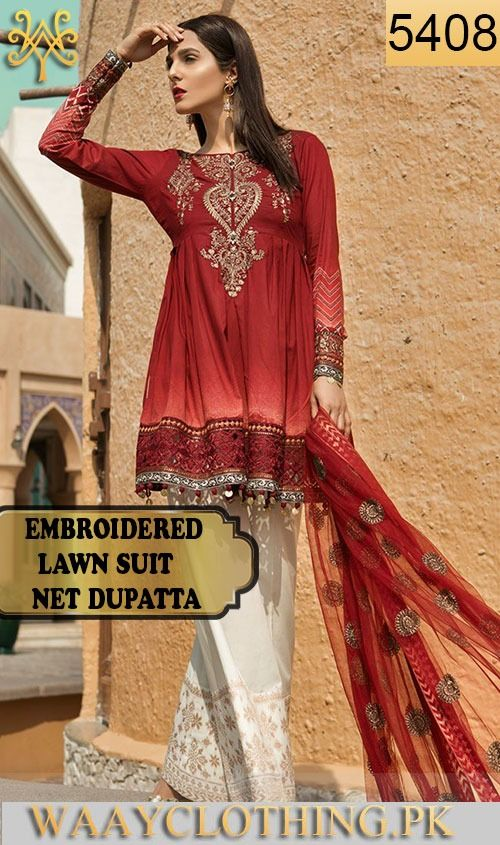 776ca6e94c Wyjb-5408 - full embroidered designer 3pc lawn suit with net dupatta ...