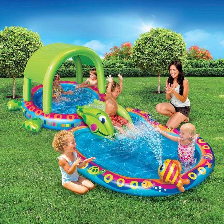 Banzai Shade N Slide Turtle Splash Pool Cool Attached Sprinkler