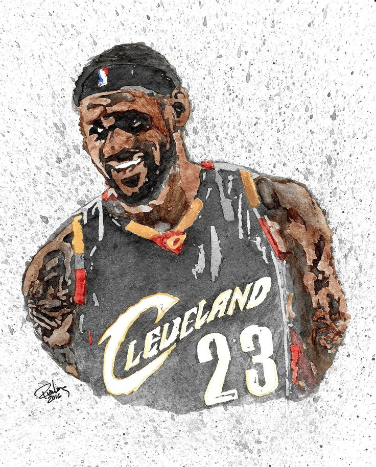 """HAND DRAWN Artist Watercolor Original 8"""" x 10"""" PRINT of Cleveland Cav LEBRON JAMES! Available in 11x14, and 20x30 Prints as well!!. HAND DRAWN Artist watercolor portrait 8"""" x 10"""" PRINT ONLY of Cleveland Caviliers MVP LEBRON JAMES! RJL Designz proudly offers 11X14, and 20X30 UNFRAMED LIMITED EDITION Prints of this previously sold original as well, each individually numbered and signed by the Artist."""