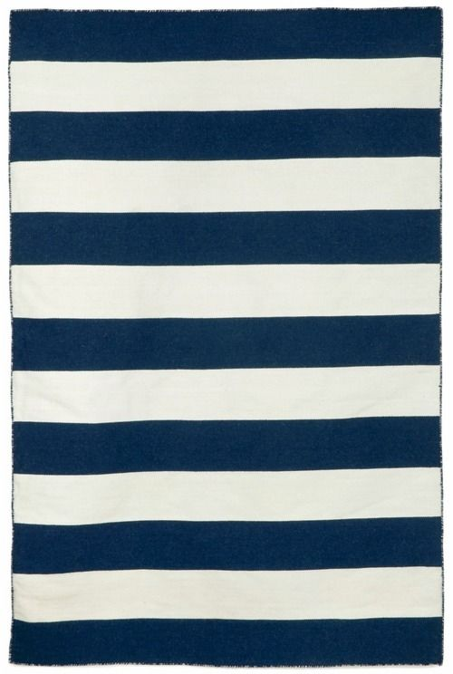 Navy Blue Rugby Striped Rug   As Seen In HGTV Magazine