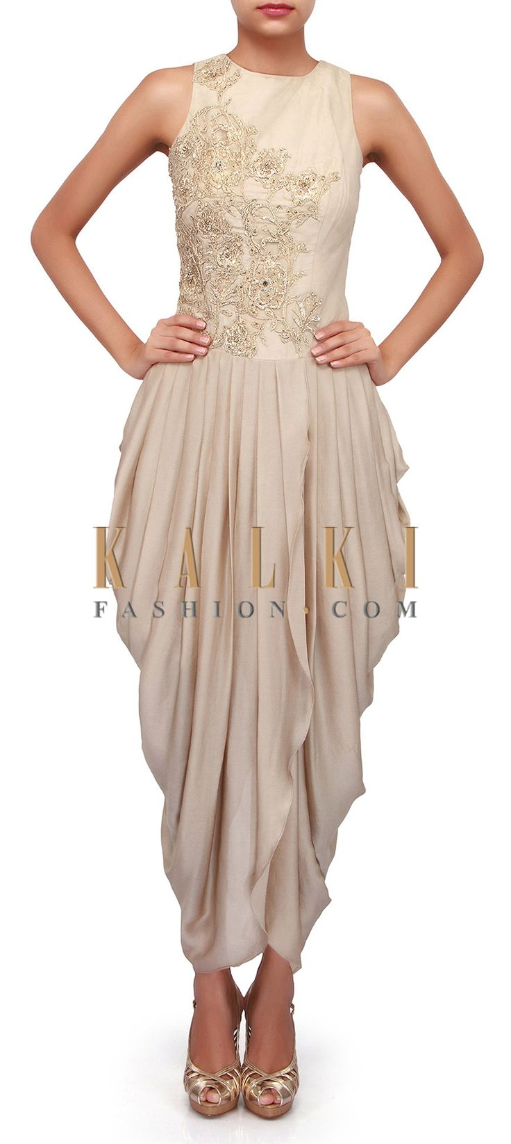 Buy Online from the link below. We ship worldwide (Free Shipping over US$100). Product SKU - 272199. Product Link - http://www.kalkifashion.com/grey-suit-adorn-in-zari-and-cowl-drape-only-on-kalki.html