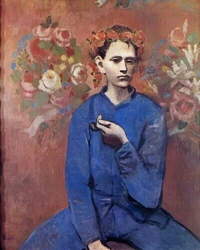 Boy with Pipe, Pablo Picasso, 1905, blue period, painted people in despair pre-cubist style