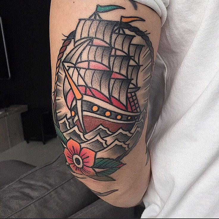 Shipwreak Traditonal Tattoo: New Ink! Traditional Ship Tattoo, Tattoo, Ink, Ship Tattoo