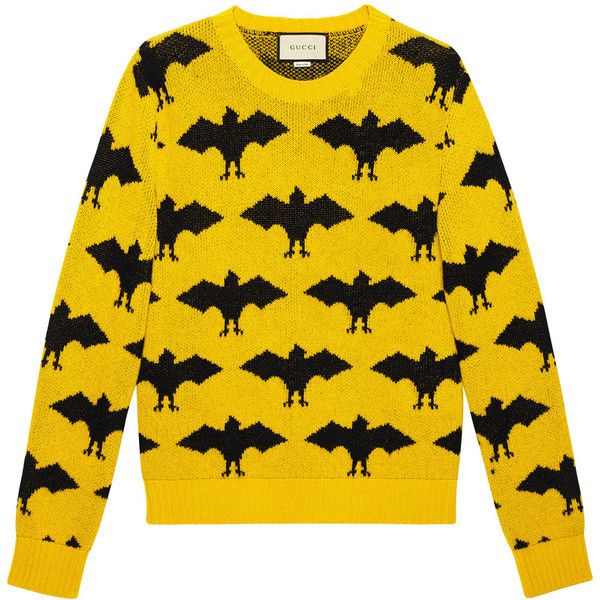 Gucci Bat jacquard crewneck sweater ($1,100) ❤ liked on Polyvore featuring men's fashion, men's clothing, men's sweaters, gucci, mens patterned sweaters, mens crewneck sweaters, gucci mens sweater, mens crew neck sweaters and mens yellow sweater