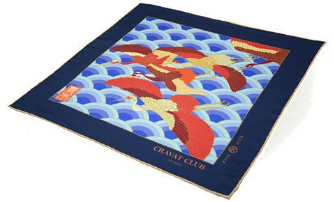AOI Printed Silk Pocket Square #crane #cranes #birds #flight #flying #japanesebird #tsuru #ukiyoe #aoi #blue #red #woodblock #print #japanese #japan #pocketsquare #pocketsquares #pocket #square #silk #square #madeinengland #british #buybritish #silkpocketsquare #handkerchief #menswear #mens #accessories #mensfashion #fashion