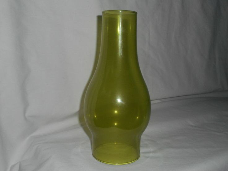 Antique Oil Lamp Chimney Shade Chartreuse Green Glass