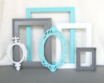 Turquoise Aqua Blue, Grey White Vintage Picture Frames Set of 6 Upcycled Frames w/ GLASS Tiffany BLUE Grey white Modern Bedroom Decor Home