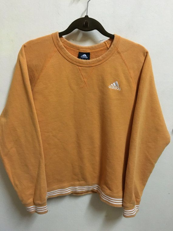 Vintage 90's Adidas Orange 3 Stripes Sport Classic Design Skate Sweat Shirt…