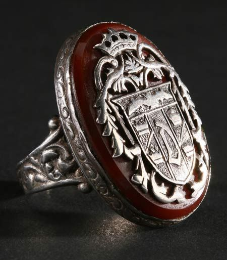 Bela Lugosi's Dracula ring; this ring was originally created in 1944 for Universal's House of Frankenstein and was worn by John Carradine in the role of the Count. Carradine again wore the ring in House of Dracula (1945). Three years later Universal signed Lugosi to reprise his role as Dracula in Abbott and Costello Meet Frankenstein (1948). Lugosi wore the ring in classic comedy and then kept it.    [information via liveauctioneers.com]