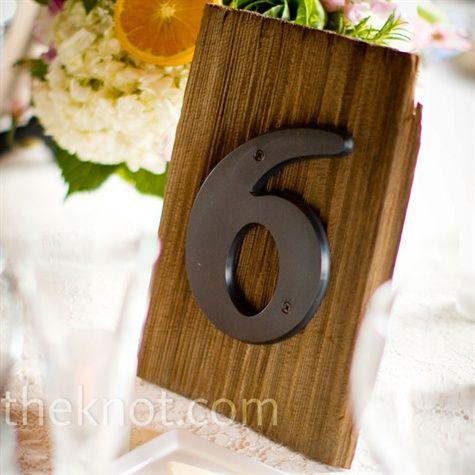 wedding table numbers on shingles