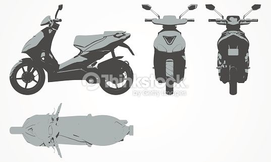 Clipart vectoriel : Front, top, back and side scooter projection