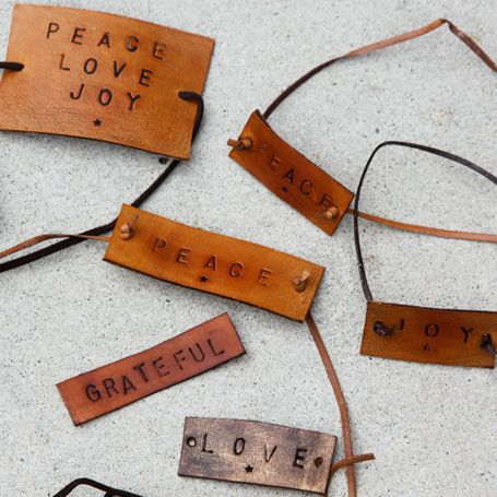 DIY: leather bracelets with letter stamped words -- Letter Stamps for Leather available at https://www.tandyleatherfactory.com/en-usd/search/site-search-results.aspx?sectionpath=3&processor=content&p_keyword=Letters