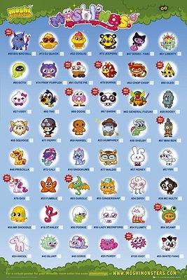 Moshi Monsters Poster - Moshlings Tick Chart - Nintendo Gaming Poster