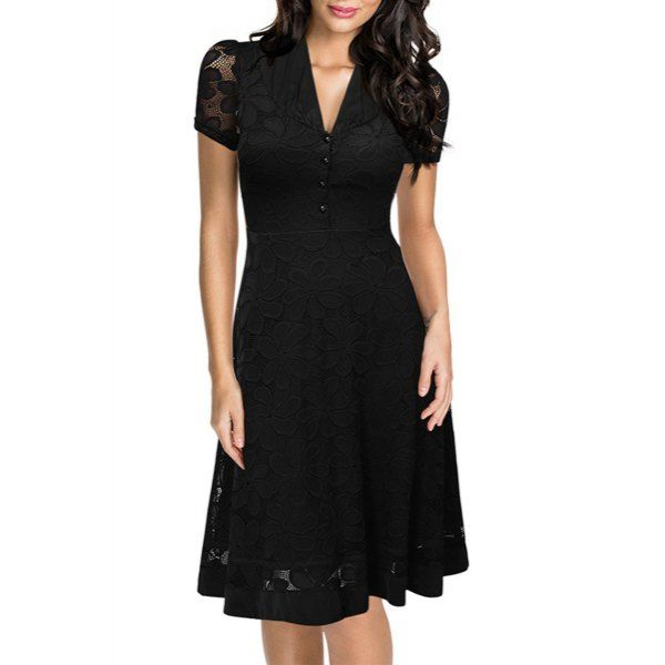 Vintage Style V-Neck Short Sleeve Black Lace Women's Dress