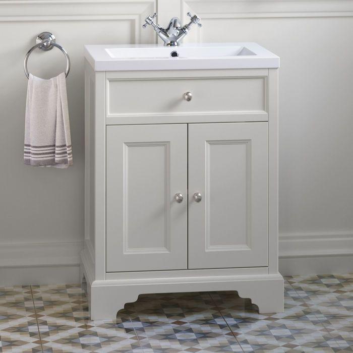 600mm Loxley Chalk Vanity Unit Floor Standing Cream Bathroom Bathroom Vanity Units Bathroom Units