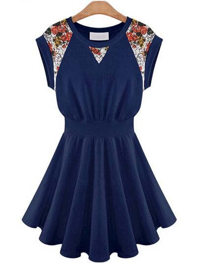 Navy Contrast Lace Floral Ruffle Dress pictures
