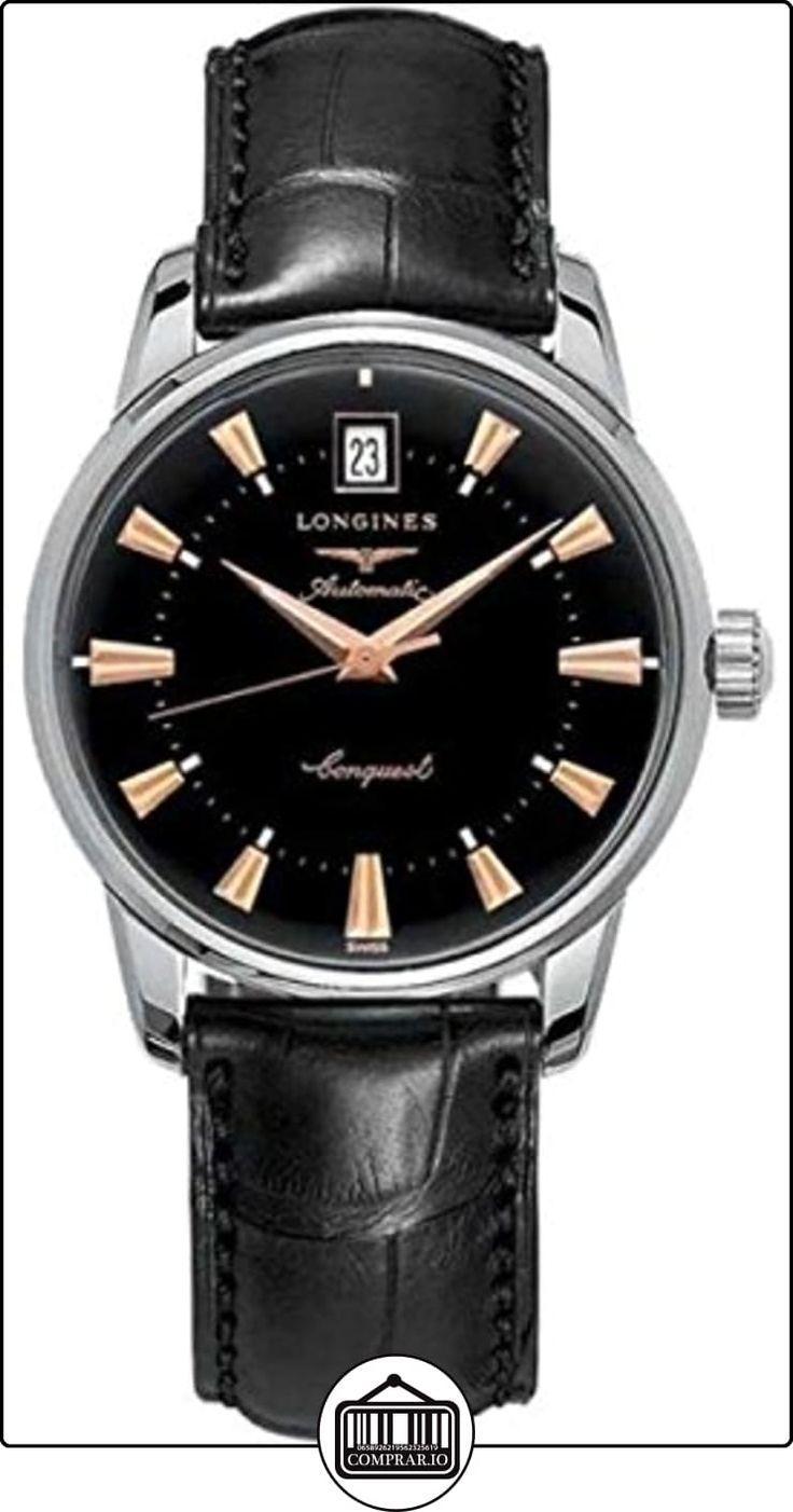 Longines  L16414524 - Reloj de cuarzo para hombre, con correa de cuero, color negro de  ✿ Relojes para hombre - (Lujo) ✿