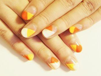白、黄、オレンジ、変わりフレンチ