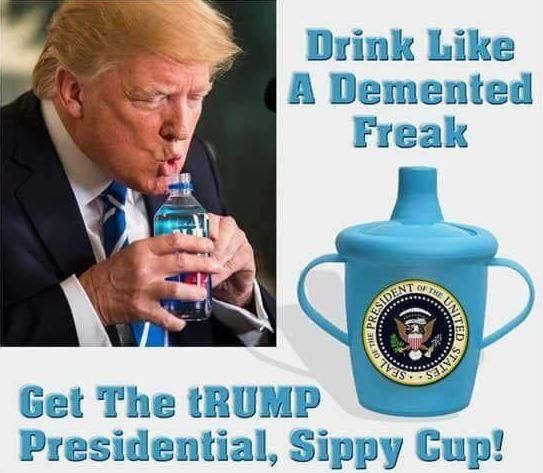 After making fun of Marco Rubio for drinking water!  Trump shoes what a moron he is.