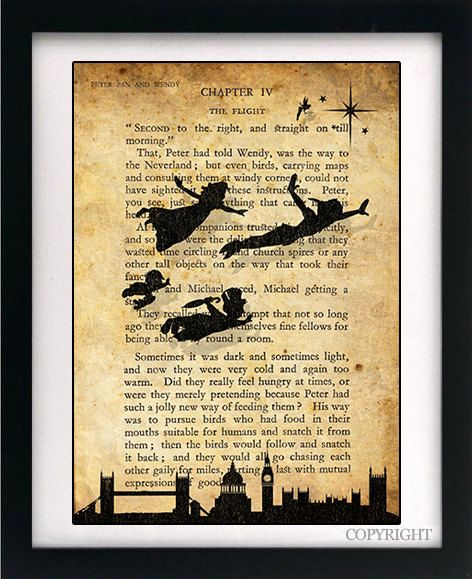 peter pan children flying over london art book print vintage effect wall quote with text - Book Pages Art