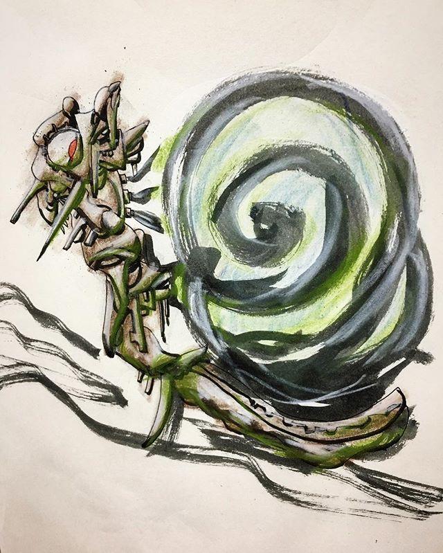 adaichiz今日の一枚【蝸牛】  #昆虫 #絵 #芸術 #アート #アートワーク #イラスト #らくがき #スケッチ #モレスキン #アーティスト #絵師 #妄想 #大智 #art #artwork #illustration #artistic #artist #drawing #sketch #painting #creative #character #moleskine2017/10/24 22:05:05