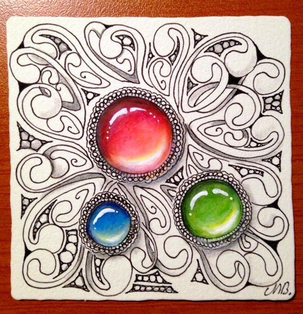 "The Diva's  Weekly Challenge #248: ""Give the Gift of Zentangle""     When I first started tangling I often called tiles little gems and now t..."