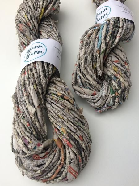 Recycled newspaper yarn from Indian newspapers. SOLD OUT