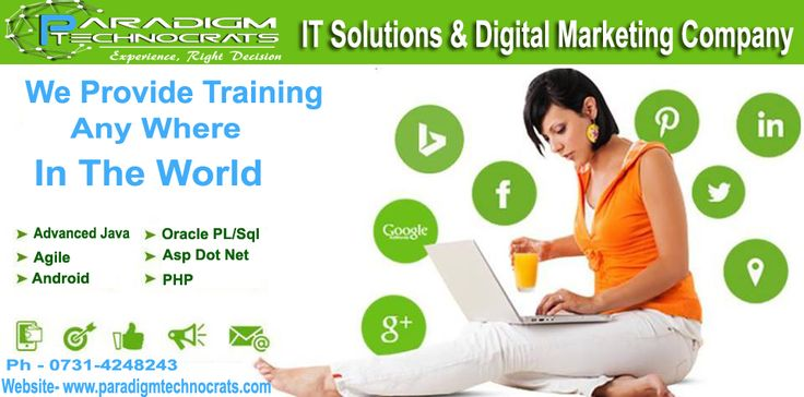Paradigm Technocrats is the fastest growing Digital Marketing & IT Solution Company in India. We specialized online Training Company offering high quality cost-effective professional training in IT, Consulting Services. We specialize in offering the highest level of trainings on the niche IT technologies in the market to help maximize our customers' investment and time. We are proactive and offer competitive advantages to ensure quality training. We are offering- Advanced Java Agile Android…