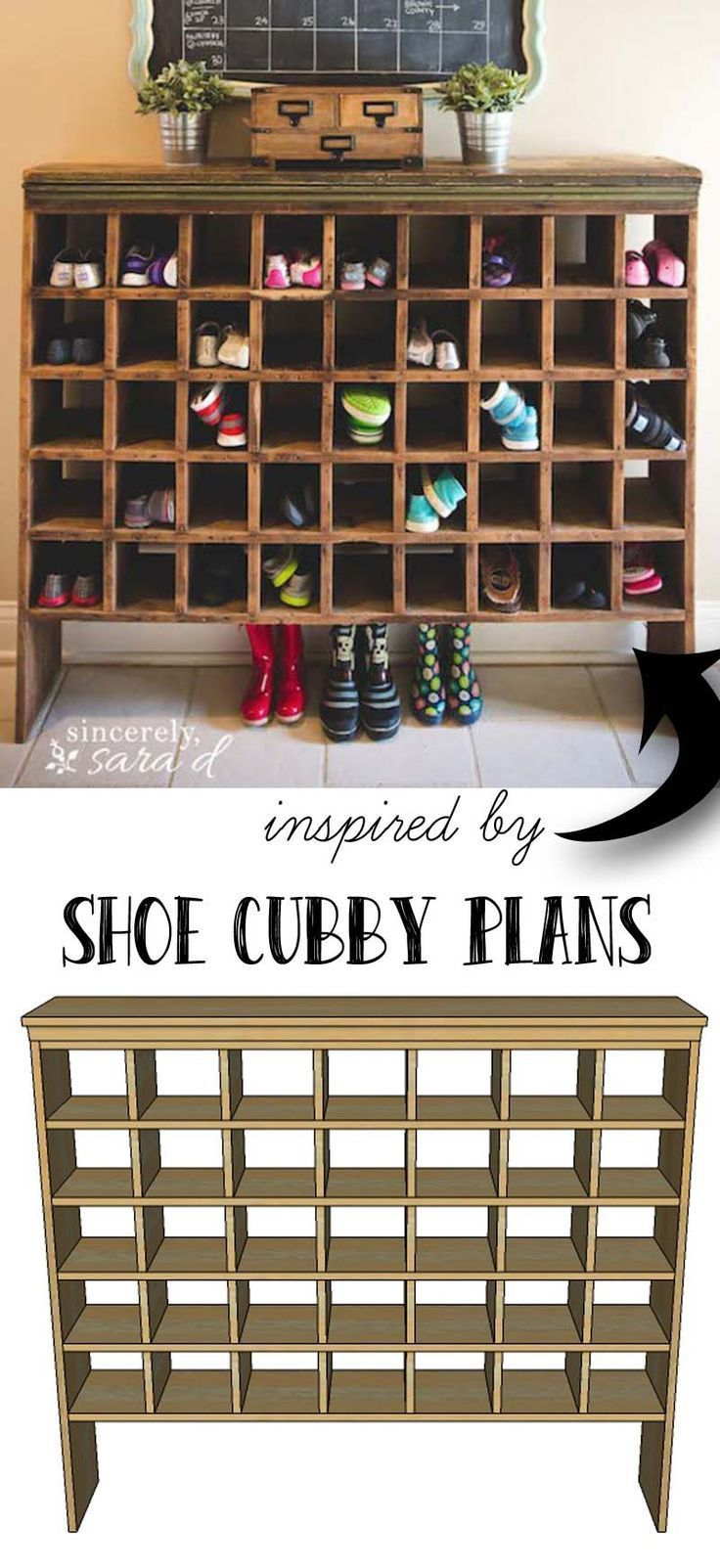 Free building plans for this mail sorter turned shoe cubby.