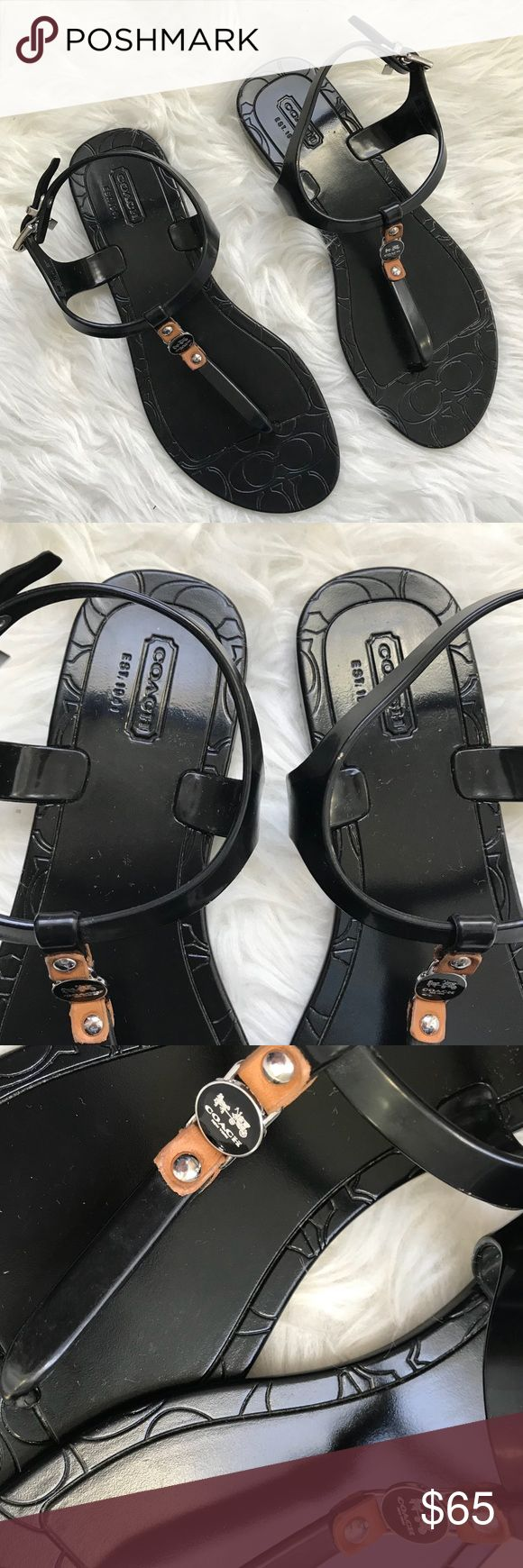 Coach Piccadilly Black Jelly T Strap Sandals Excellent used condition. No flaws. Minor wear to the bottoms. Perfect for summer! Coach Shoes Sandals