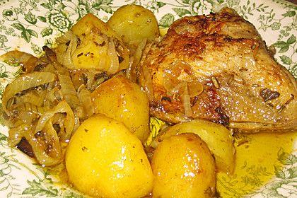 Arabisches Zitronen - Knoblauch Huhn mit Kartoffeln und Zwiebeln 1