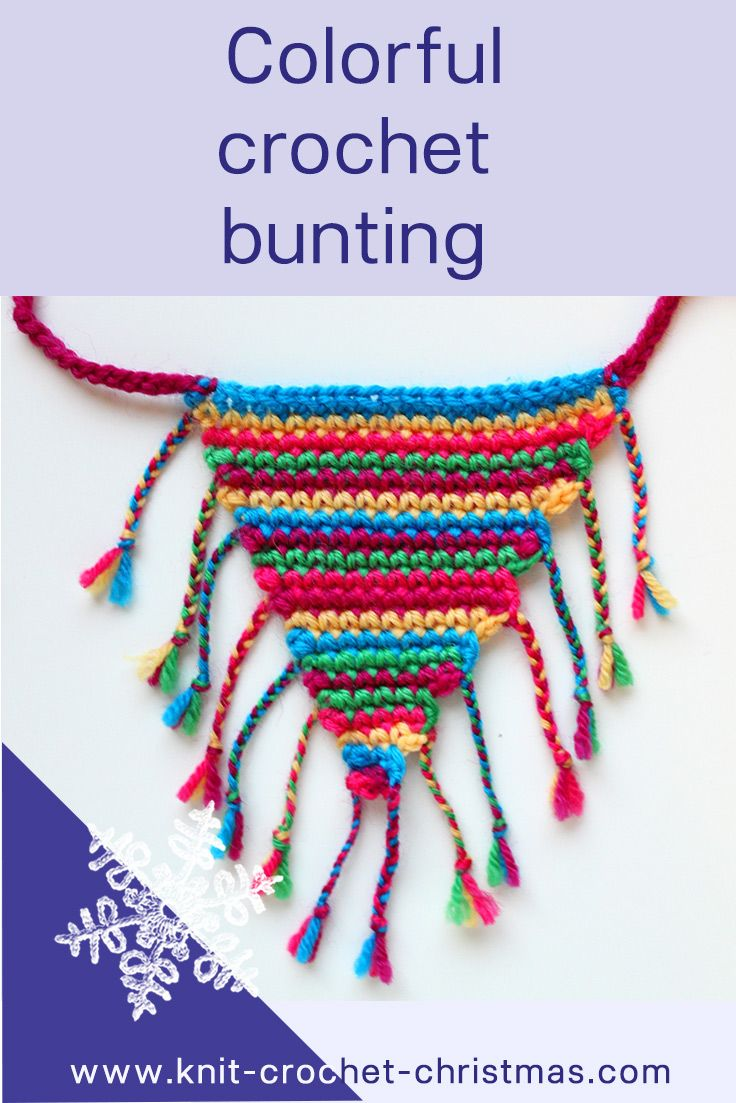 Colorful crochet bunting from left-over yarn #crochet #bunting #garland