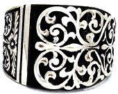 Prata 925 homens, anel de Erzurum artesanais prata esterlina dos homens de prata aperto âmbar negro naturel pedra