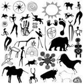 Cueva de pintura - arte primitivo - vector — Ilustración de stock #8178726